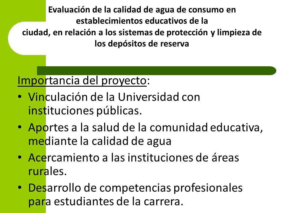 Evaluación de la calidad de agua de consumo en establecimientos educativos de la ciudad, en relación a los sistemas de protección y limpieza de los de