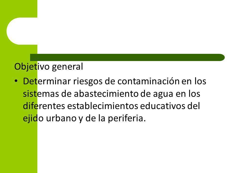 Objetivo general Determinar riesgos de contaminación en los sistemas de abastecimiento de agua en los diferentes establecimientos educativos del ejido