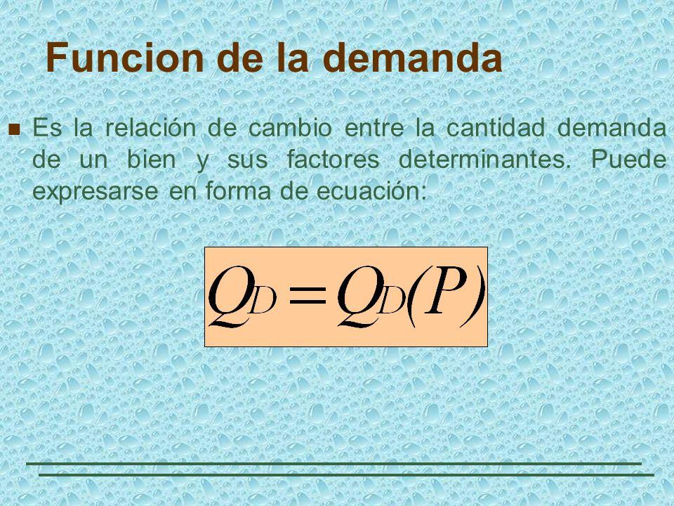 Funcion de la demanda Es la relación de cambio entre la cantidad demanda de un bien y sus factores determinantes. Puede expresarse en forma de ecuació