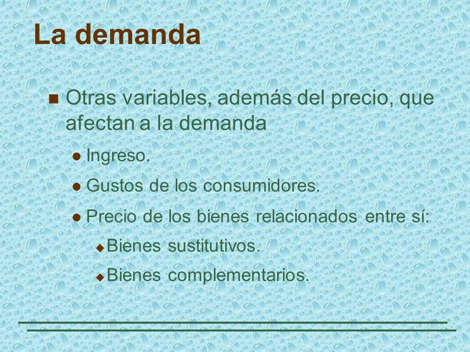 La demanda Otras variables, además del precio, que afectan a la demanda Ingreso. Gustos de los consumidores. Precio de los bienes relacionados entre s