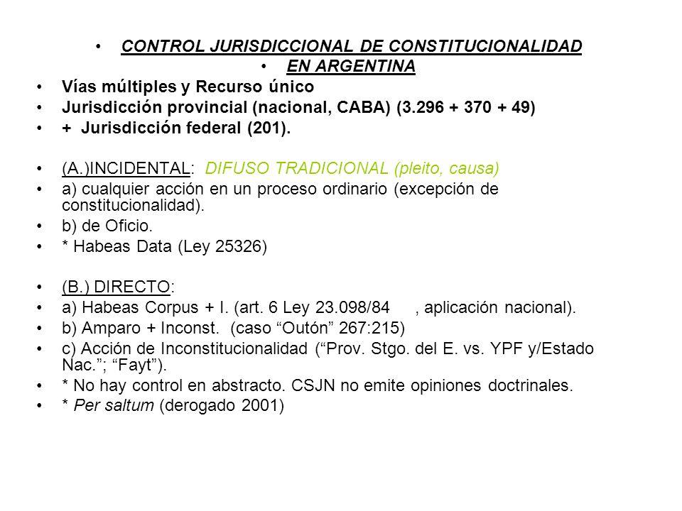 CONTROL JURISDICCIONAL DE CONSTITUCIONALIDAD EN ARGENTINA Vías múltiples y Recurso único Jurisdicción provincial (nacional, CABA) (3.296 + 370 + 49) +