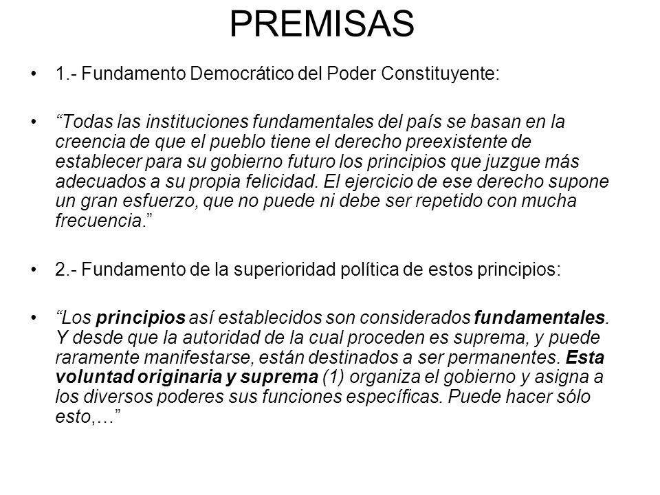 PREMISAS 1.- Fundamento Democrático del Poder Constituyente: Todas las instituciones fundamentales del país se basan en la creencia de que el pueblo t