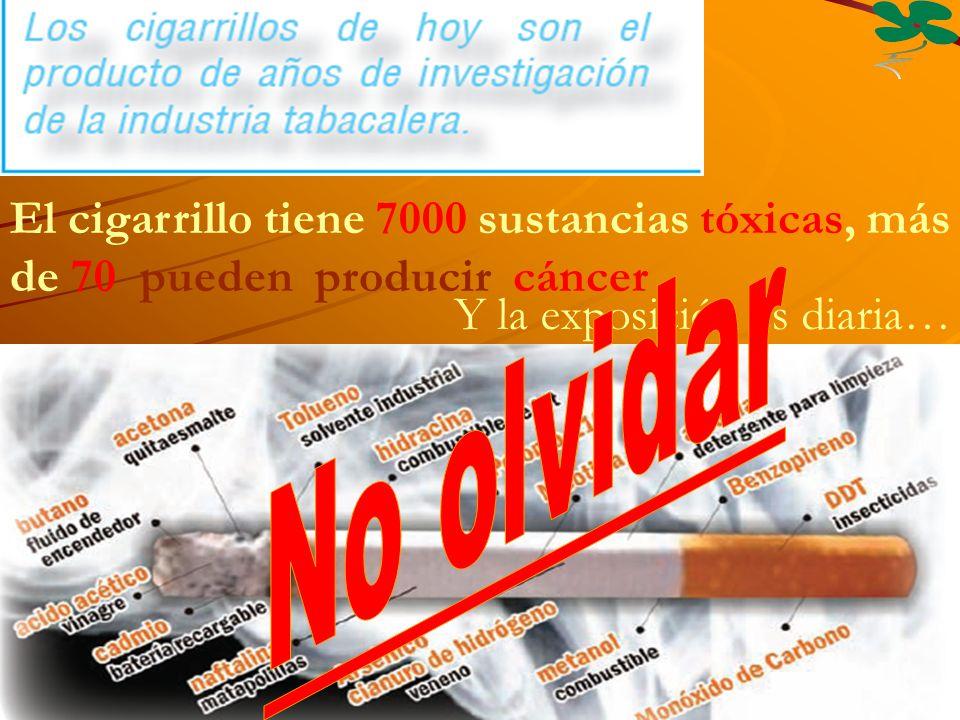 El cigarrillo tiene 7000 sustancias tóxicas, más de 70 pueden producir cáncer Y la exposición es diaria…
