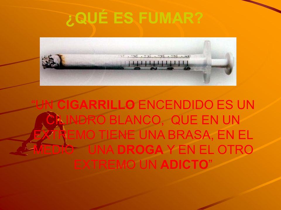¿QUÉ ES FUMAR? UN CIGARRILLO ENCENDIDO ES UN CILINDRO BLANCO, QUE EN UN EXTREMO TIENE UNA BRASA, EN EL MEDIO UNA DROGA Y EN EL OTRO EXTREMO UN ADICTO
