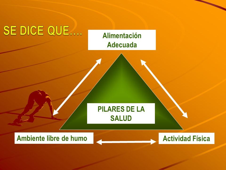 ACCIÓN SOCIAL Alimentación Adecuada Ambiente libre de humo Actividad Física PILARES DE LA SALUD