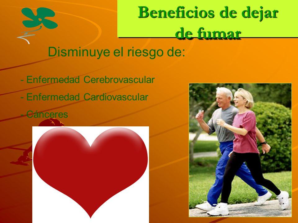 Beneficios de dejar de fumar Disminuye el riesgo de: - Enfermedad Cerebrovascular - Enfermedad Cardiovascular - Cánceres