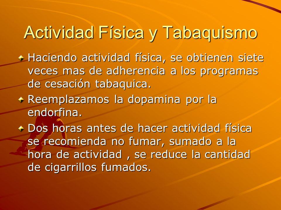 Actividad Física y Tabaquismo Haciendo actividad física, se obtienen siete veces mas de adherencia a los programas de cesación tabaquica. Reemplazamos