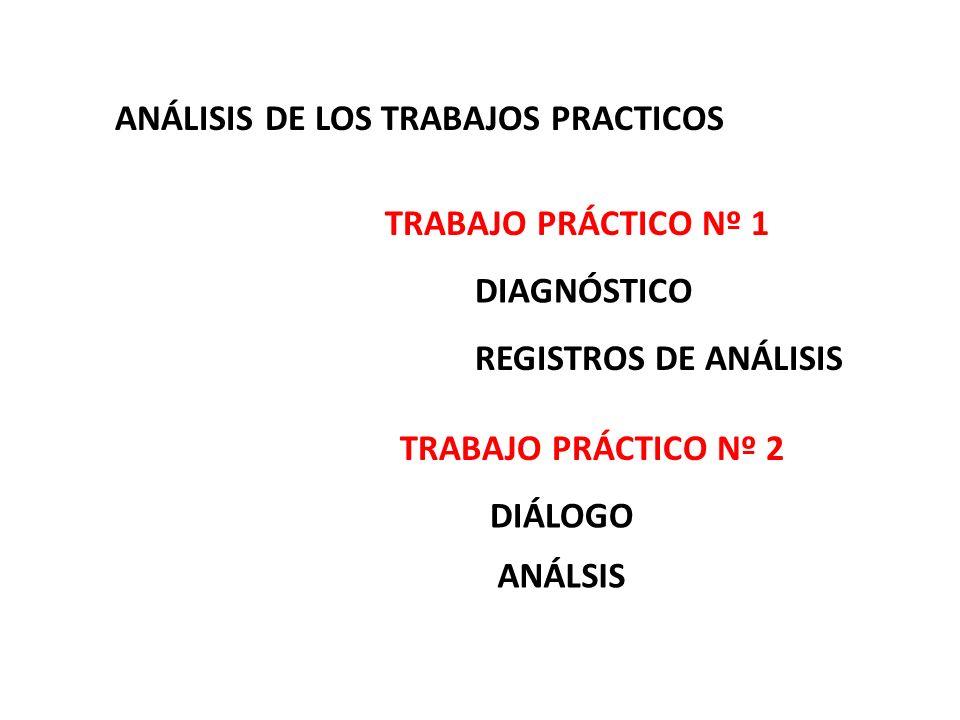 ANÁLISIS DE LOS TRABAJOS PRACTICOS DIAGNÓSTICO TRABAJO PRÁCTICO Nº 1 REGISTROS DE ANÁLISIS TRABAJO PRÁCTICO Nº 2 DIÁLOGO ANÁLSIS