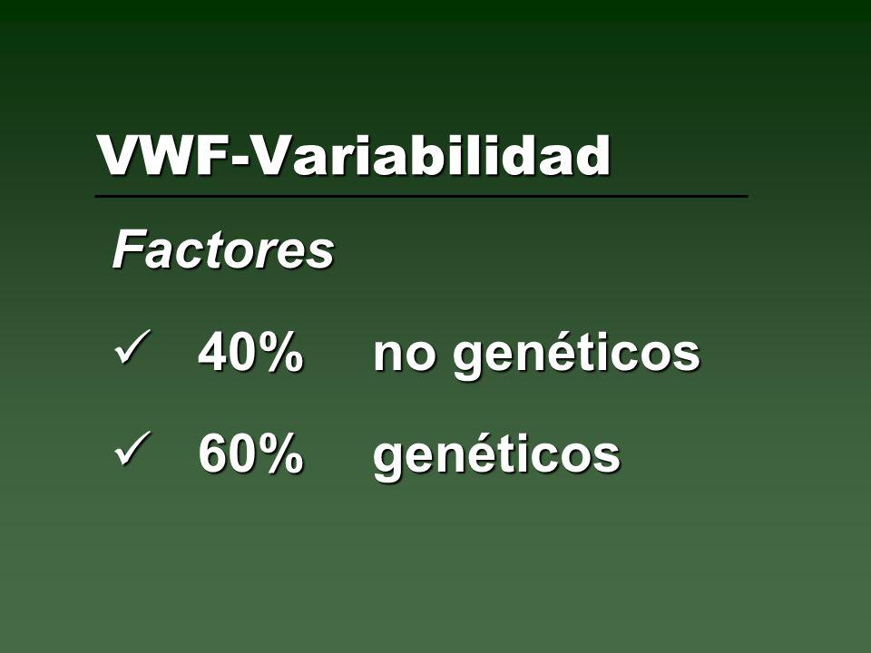 VWF-Variabilidad Factores 40% no genéticos 40% no genéticos 60% genéticos 60% genéticos