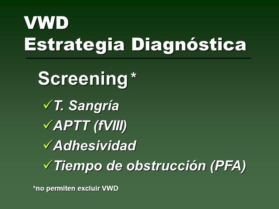 T. Sangría T. Sangría APTT (fVIII) APTT (fVIII) Adhesividad Adhesividad Tiempo de obstrucción (PFA) Tiempo de obstrucción (PFA) Screening VWD Estrateg