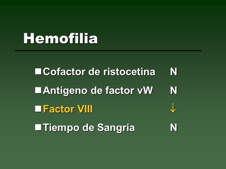 Cofactor de ristocetinaN Cofactor de ristocetinaN Antígeno de factor vW N Antígeno de factor vW N Factor VIII Factor VIII Tiempo de Sangría N Tiempo d