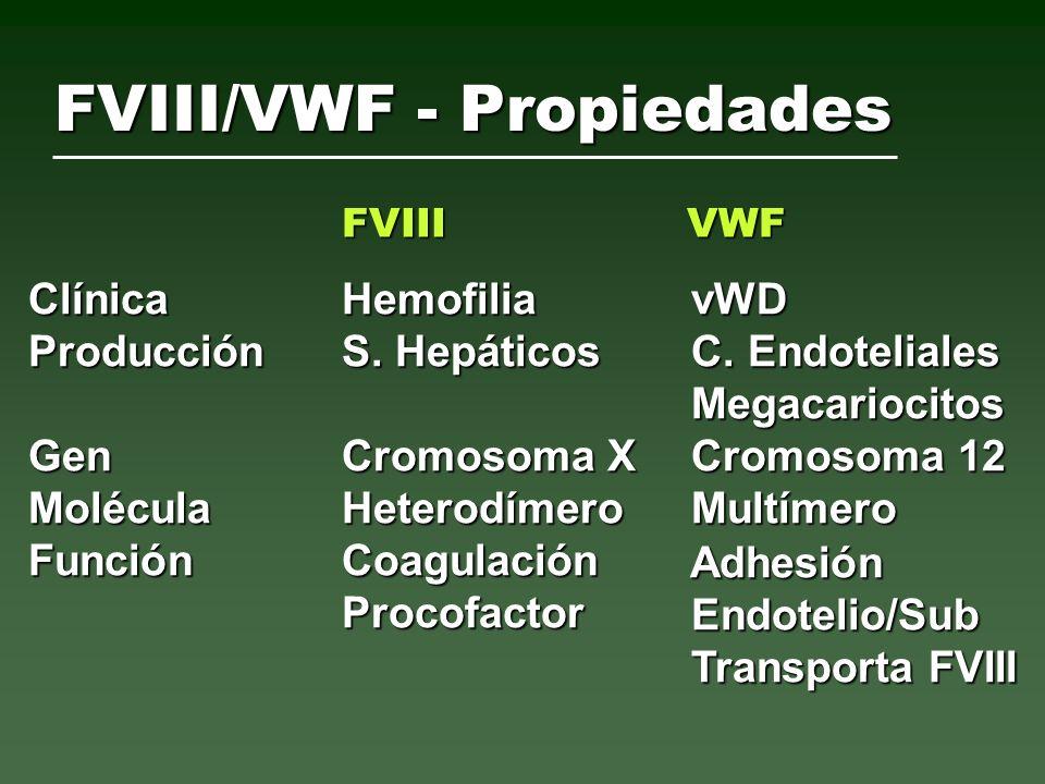 Cofactor de ristocetina * Cofactor de ristocetina * Antígeno de factor vW o N Antígeno de factor vW o N Factor VIII o N Factor VIII o N Tiempo de Sangría o N Tiempo de Sangría o N *excepto la variante 2N Enfermedad de von Willebrand