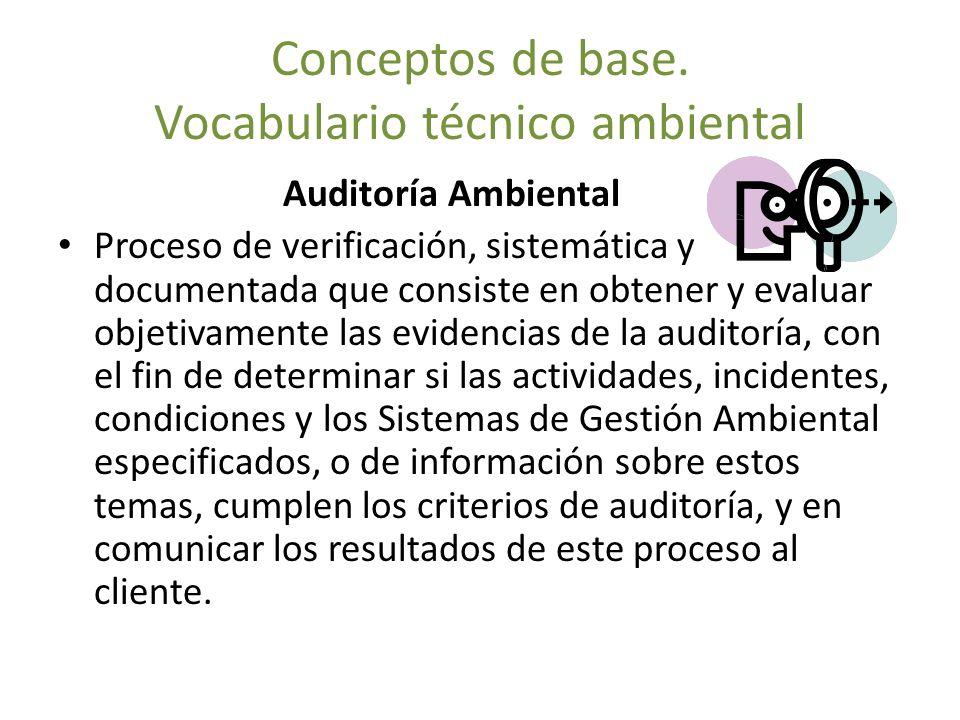 Conceptos de base. Vocabulario técnico ambiental Auditoría Ambiental Proceso de verificación, sistemática y documentada que consiste en obtener y eval