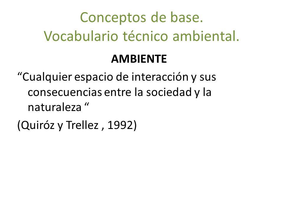 Conceptos de base. Vocabulario técnico ambiental. AMBIENTE Cualquier espacio de interacción y sus consecuencias entre la sociedad y la naturaleza (Qui