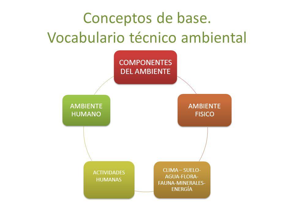 Conceptos de base. Vocabulario técnico ambiental COMPONENTES DEL AMBIENTE AMBIENTE FISICO CLIMA – SUELO- AGUA-FLORA- FAUNA-MINERALES- ENERGÍA ACTIVIDA