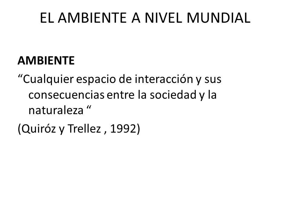 EL AMBIENTE A NIVEL MUNDIAL COMPONENTES DEL AMBIENTE AMBIENTE FISICO CLIMA – SUELO- AGUA-FLORA- FAUNA-MINERALES- ENERGÍA ACTIVIDADES HUMANAS AMBIENTE HUMANO