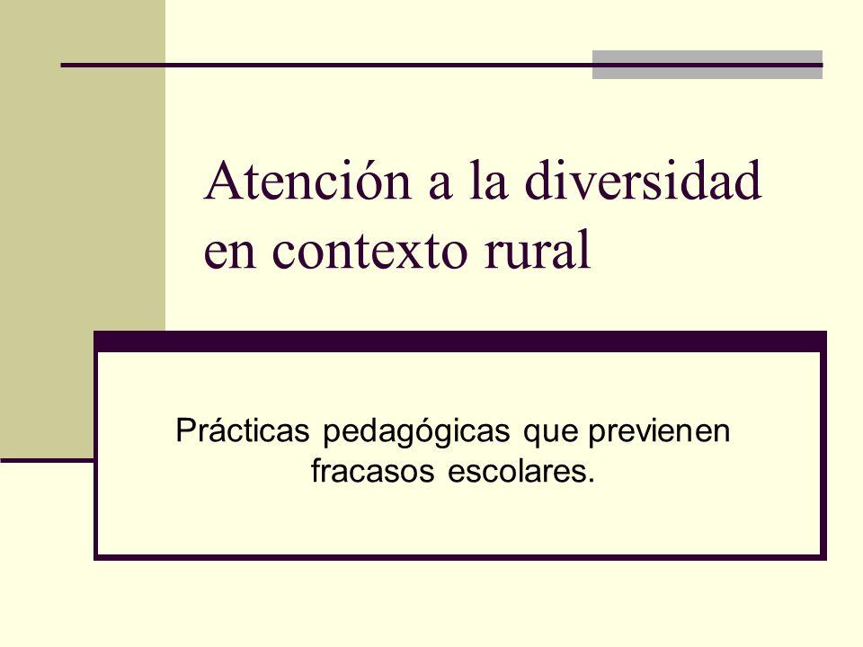 Atención a la diversidad en contexto rural Prácticas pedagógicas que previenen fracasos escolares.