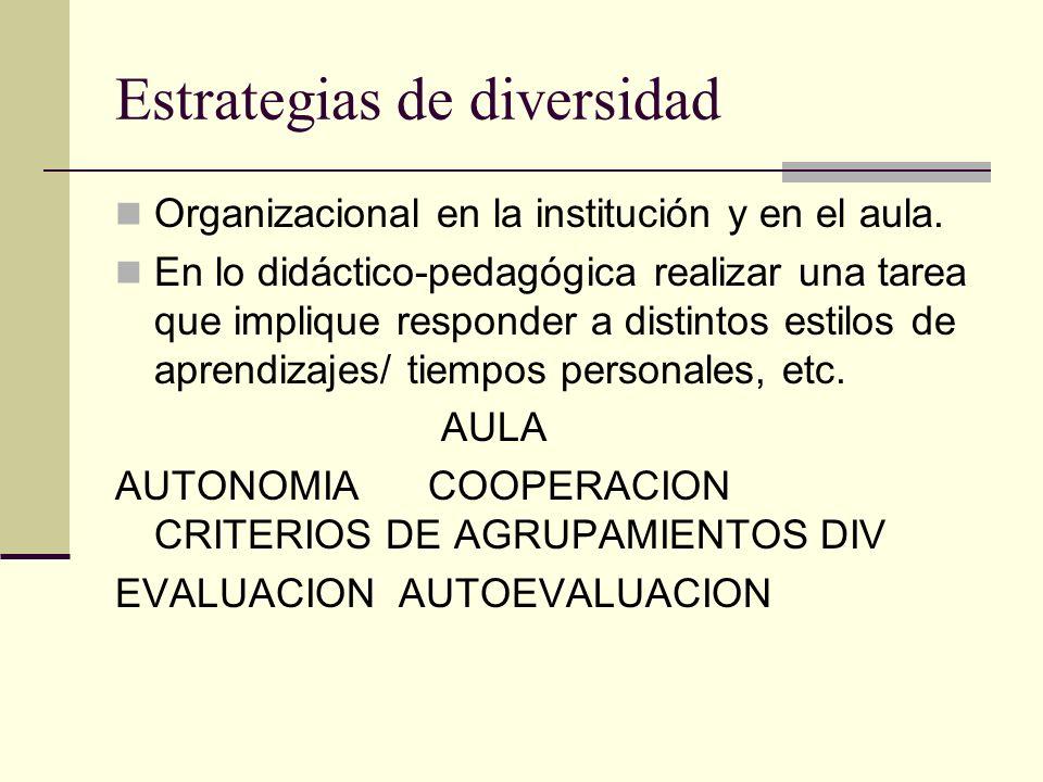 Estrategias de diversidad Organizacional en la institución y en el aula. En lo didáctico-pedagógica realizar una tarea que implique responder a distin
