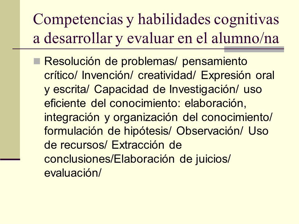 Competencias y habilidades cognitivas a desarrollar y evaluar en el alumno/na Resolución de problemas/ pensamiento crítico/ Invención/ creatividad/ Ex