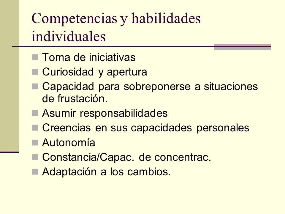 Competencias y habilidades individuales Toma de iniciativas Curiosidad y apertura Capacidad para sobreponerse a situaciones de frustación. Asumir resp