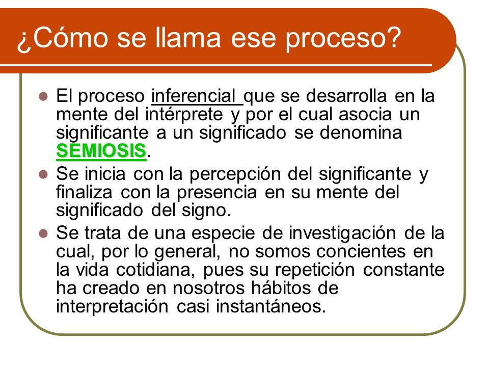¿Cómo se llama ese proceso? SEMIOSIS El proceso inferencial que se desarrolla en la mente del intérprete y por el cual asocia un significante a un sig