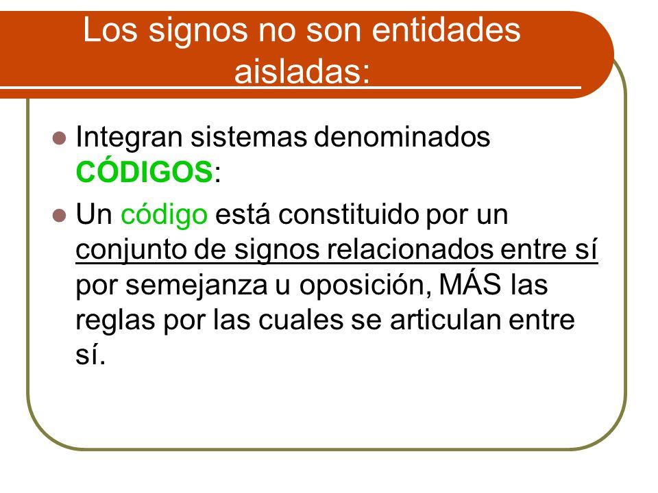 Los signos no son entidades aisladas: Integran sistemas denominados CÓDIGOS: Un código está constituido por un conjunto de signos relacionados entre s