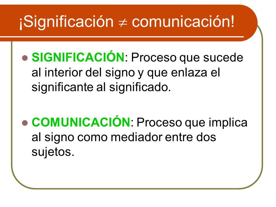 ¡Significación comunicación! SIGNIFICACIÓN: Proceso que sucede al interior del signo y que enlaza el significante al significado. COMUNICACIÓN: Proces