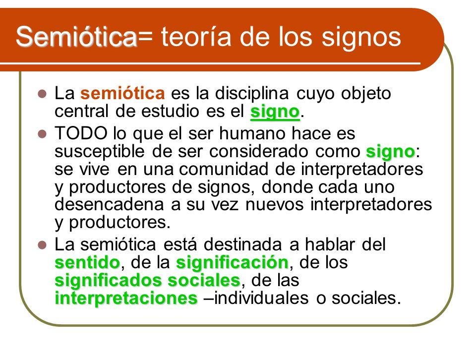 Semiótica Semiótica= teoría de los signos signo La semiótica es la disciplina cuyo objeto central de estudio es el signo. signo TODO lo que el ser hum