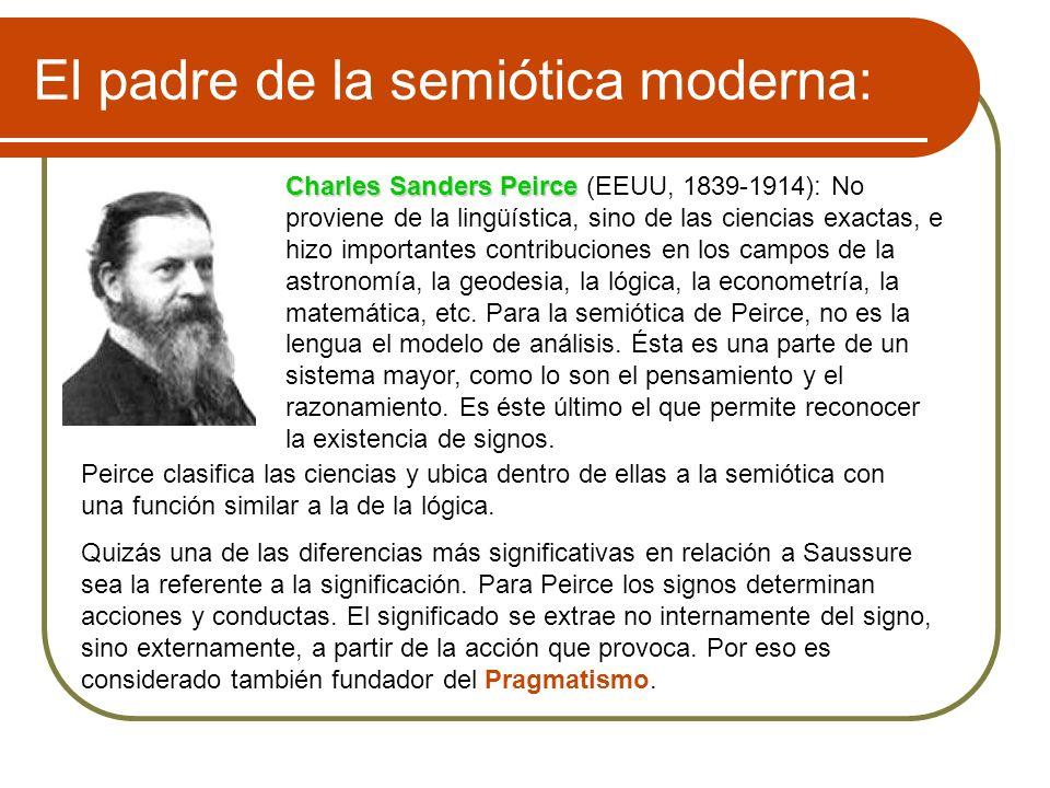 El padre de la semiótica moderna: Charles Sanders Peirce Charles Sanders Peirce (EEUU, 1839-1914): No proviene de la lingüística, sino de las ciencias