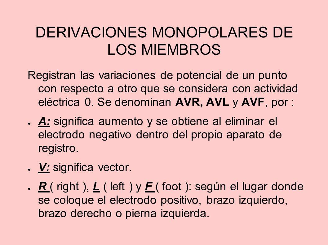 DERIVACIONES MONOPOLARES DE LOS MIEMBROS Registran las variaciones de potencial de un punto con respecto a otro que se considera con actividad eléctri