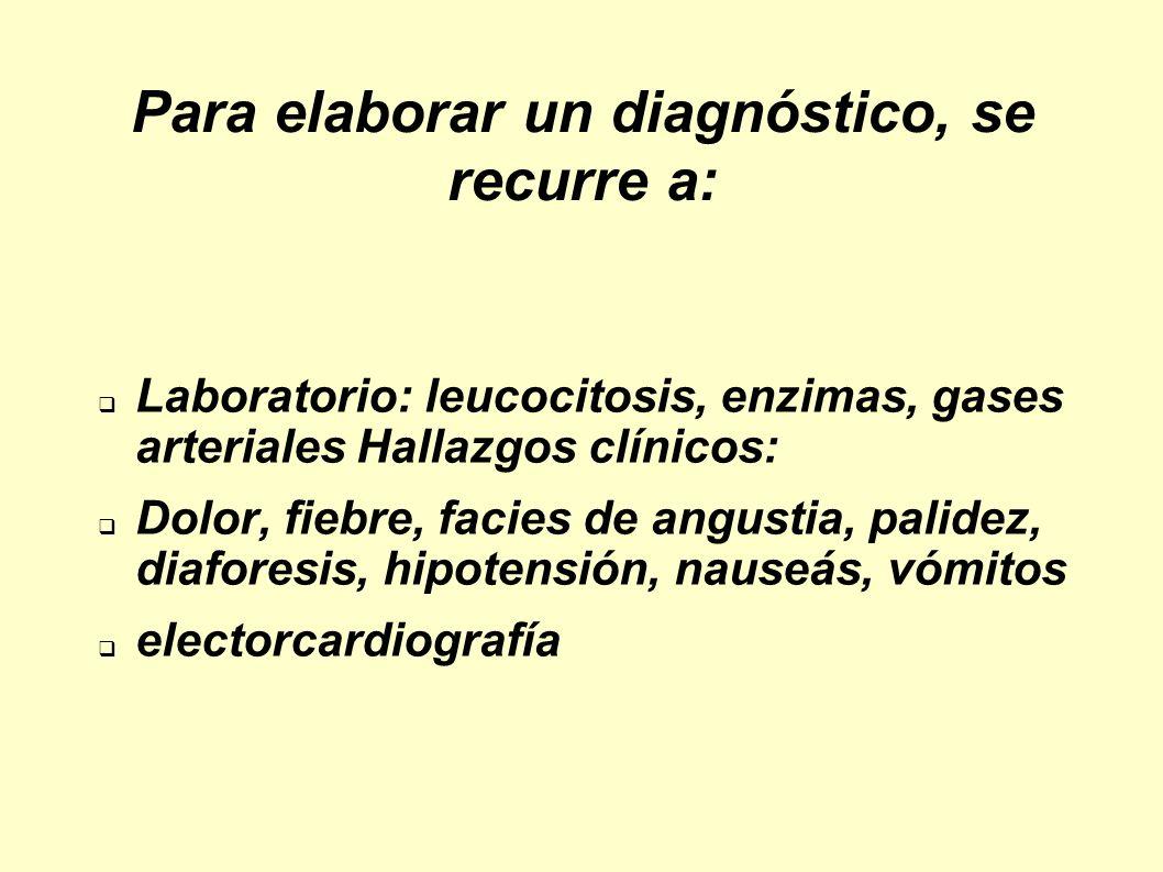 Para elaborar un diagnóstico, se recurre a: Laboratorio: leucocitosis, enzimas, gases arteriales Hallazgos clínicos: Dolor, fiebre, facies de angustia