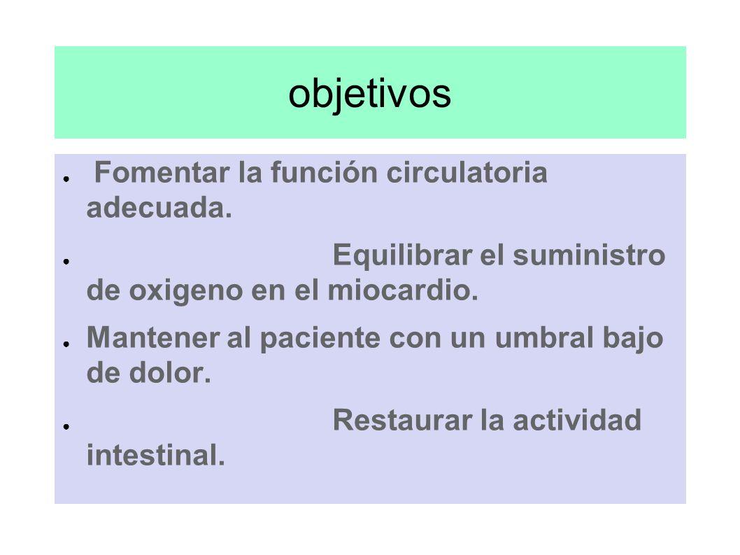 objetivos Fomentar la función circulatoria adecuada. Equilibrar el suministro de oxigeno en el miocardio. Mantener al paciente con un umbral bajo de d