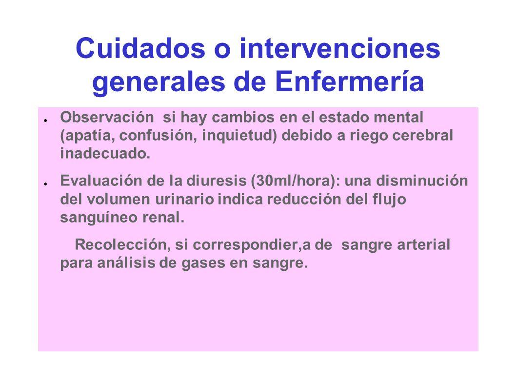 Cuidados o intervenciones generales de Enfermería Observación si hay cambios en el estado mental (apatía, confusión, inquietud) debido a riego cerebra