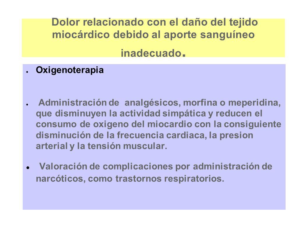 Dolor relacionado con el daño del tejido miocárdico debido al aporte sanguíneo inadecuado. Oxigenoterapia Administración de analgésicos, morfina o mep