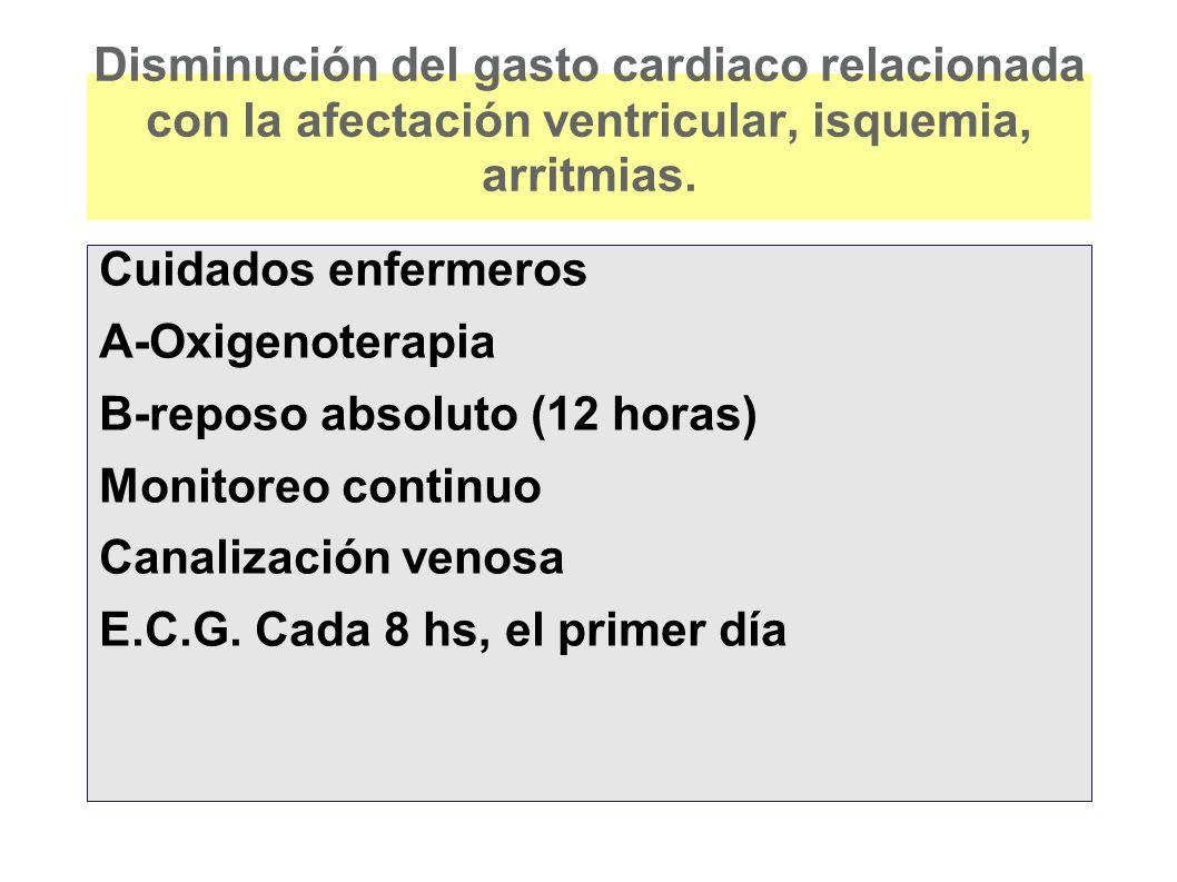 Disminución del gasto cardiaco relacionada con la afectación ventricular, isquemia, arritmias. Cuidados enfermeros A-Oxigenoterapia B-reposo absoluto