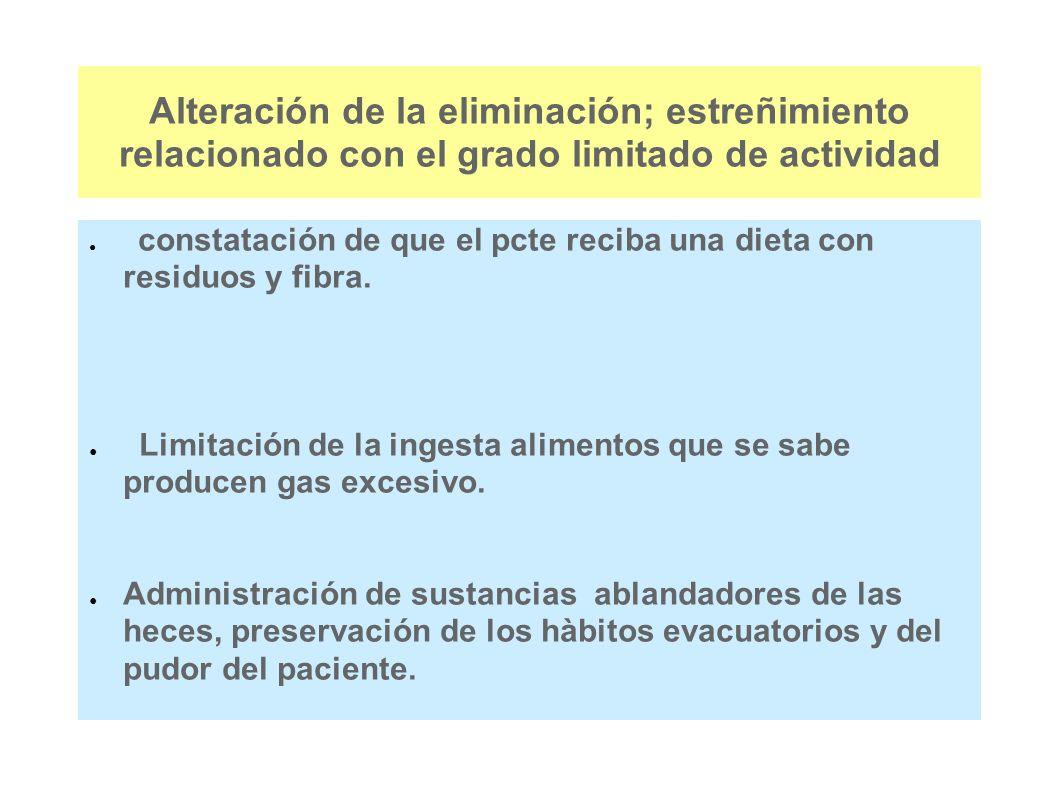 Alteración de la eliminación; estreñimiento relacionado con el grado limitado de actividad constatación de que el pcte reciba una dieta con residuos y