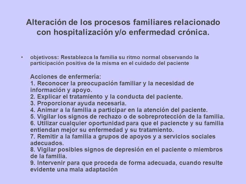 Alteración de los procesos familiares relacionado con hospitalización y/o enfermedad crónica. objetivoss: Restablezca la familia su ritmo normal obser