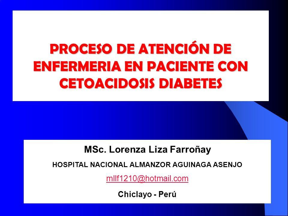 PROCESO DE ATENCIÓN DE ENFERMERIA EN PACIENTE CON CETOACIDOSIS DIABETES MSc. Lorenza Liza Farroñay HOSPITAL NACIONAL ALMANZOR AGUINAGA ASENJO mllf1210