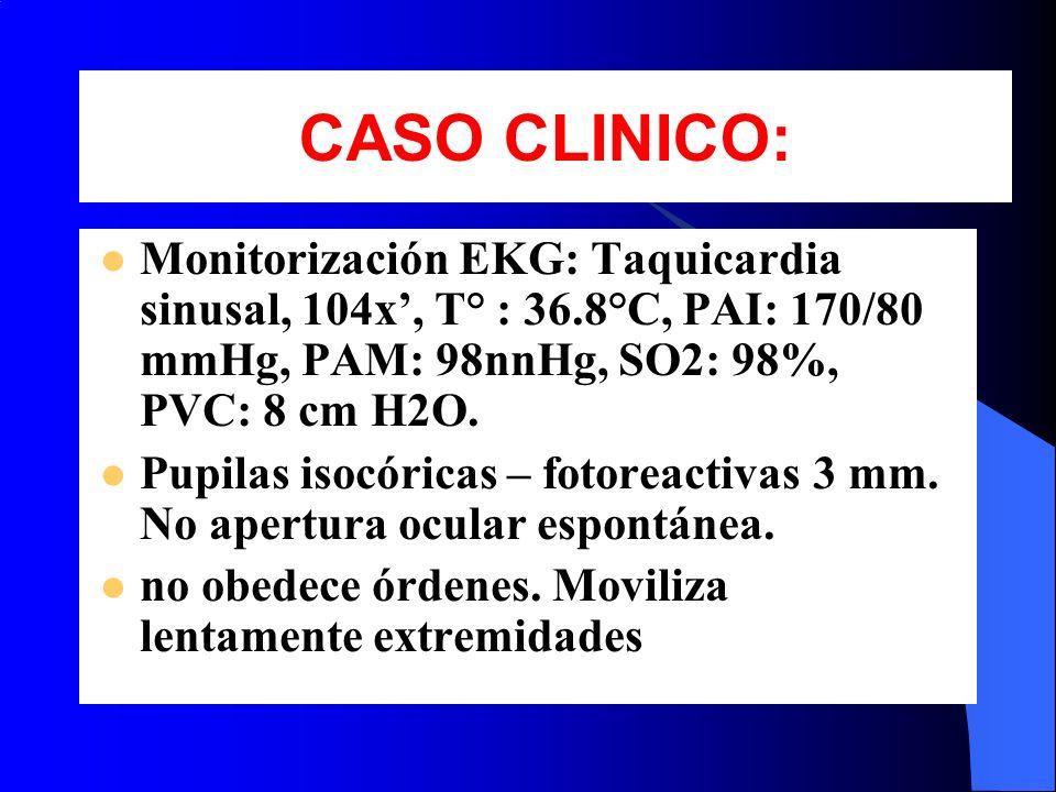 Monitorización EKG: Taquicardia sinusal, 104x, T° : 36.8°C, PAI: 170/80 mmHg, PAM: 98nnHg, SO2: 98%, PVC: 8 cm H2O. Pupilas isocóricas – fotoreactivas