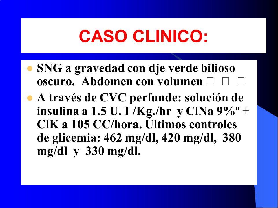 SNG a gravedad con dje verde bilioso oscuro. Abdomen con volumen A través de CVC perfunde: solución de insulina a 1.5 U. I /Kg./hr y ClNa 9%º + ClK a