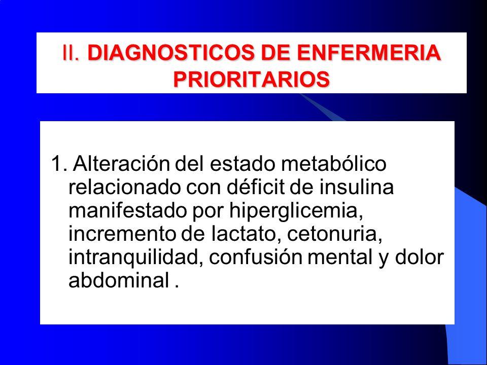 II. DIAGNOSTICOS DE ENFERMERIA PRIORITARIOS 1. Alteración del estado metabólico relacionado con déficit de insulina manifestado por hiperglicemia, inc