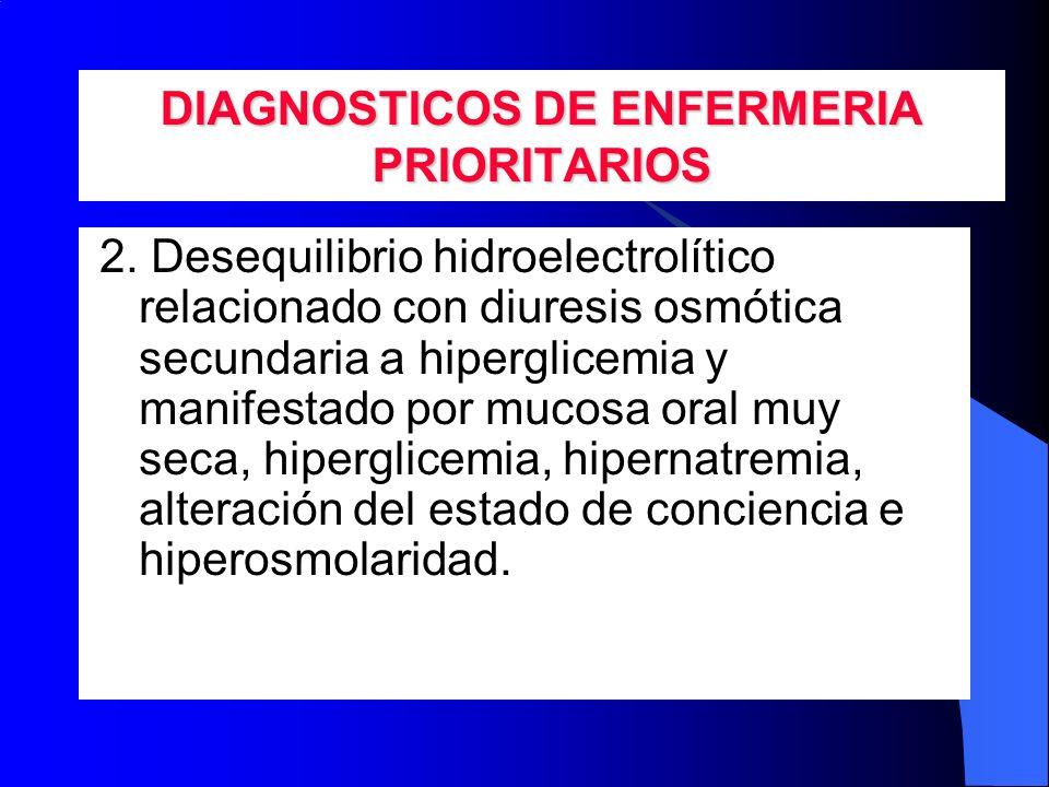 DIAGNOSTICOS DE ENFERMERIA PRIORITARIOS 2. Desequilibrio hidroelectrolítico relacionado con diuresis osmótica secundaria a hiperglicemia y manifestado