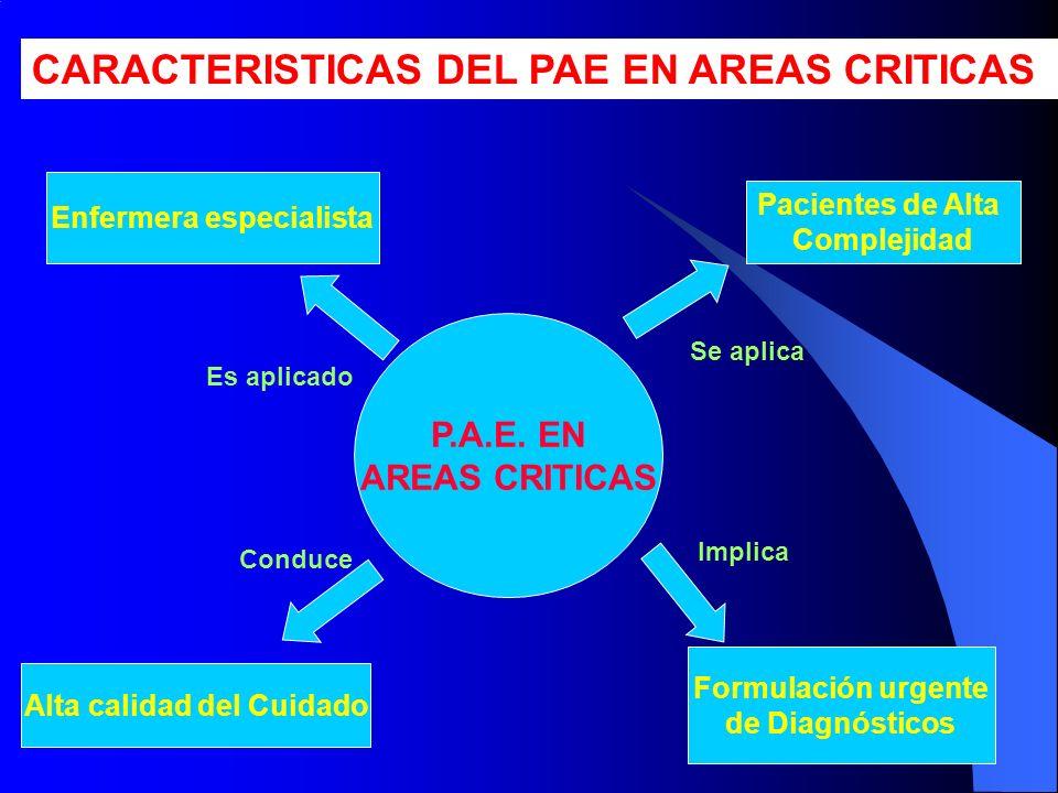 P.A.E. EN AREAS CRITICAS Enfermera especialista Alta calidad del Cuidado Formulación urgente de Diagnósticos Pacientes de Alta Complejidad Se aplica I