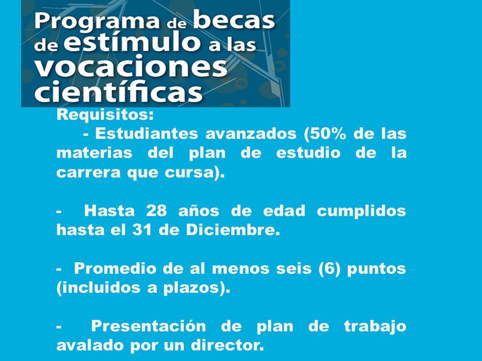 Requisitos: - Estudiantes avanzados (50% de las materias del plan de estudio de la carrera que cursa).