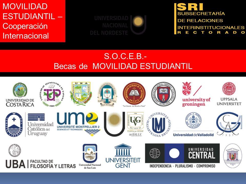MOVILIDAD ESTUDIANTIL – Cooperación Internacional S.O.C.E.B.- Becas de MOVILIDAD ESTUDIANTIL