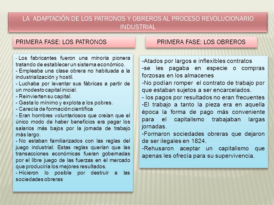 PRIMERA FASE: LOS PATRONOS PRIMERA FASE: LOS OBREROS - Los fabricantes fueron una minoría pionera tratando de establecer un sistema económico. - Emple