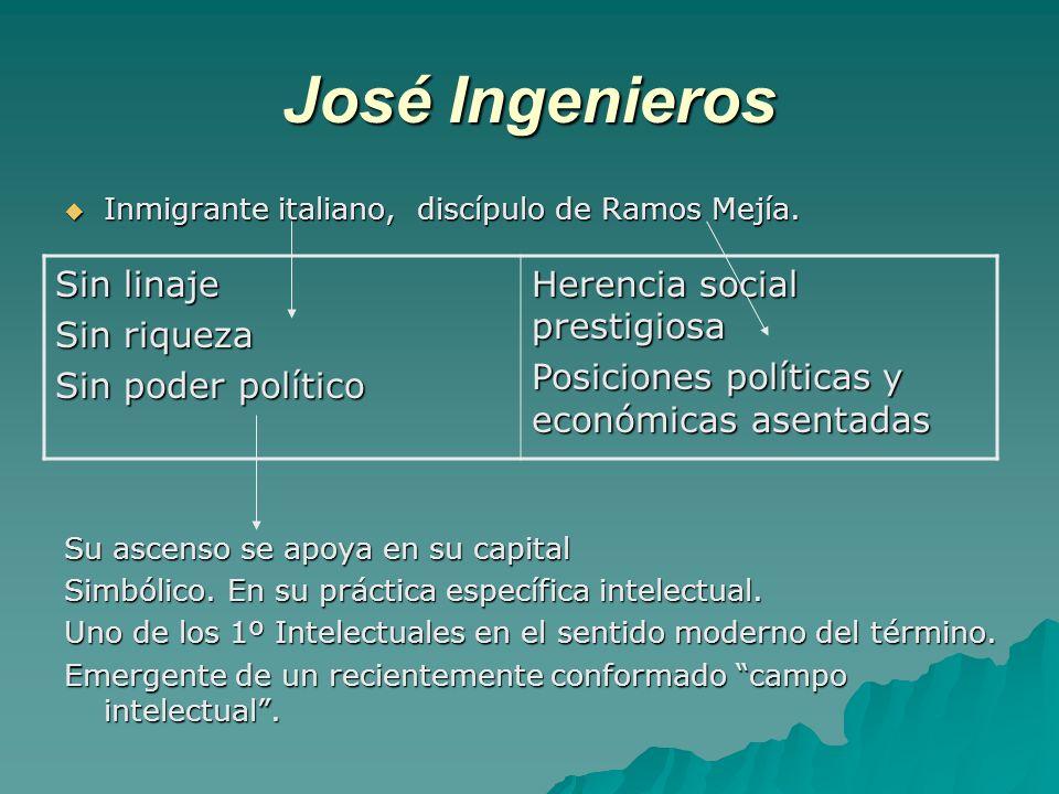 José Ingenieros Inmigrante italiano, discípulo de Ramos Mejía. Inmigrante italiano, discípulo de Ramos Mejía. Su ascenso se apoya en su capital Simból