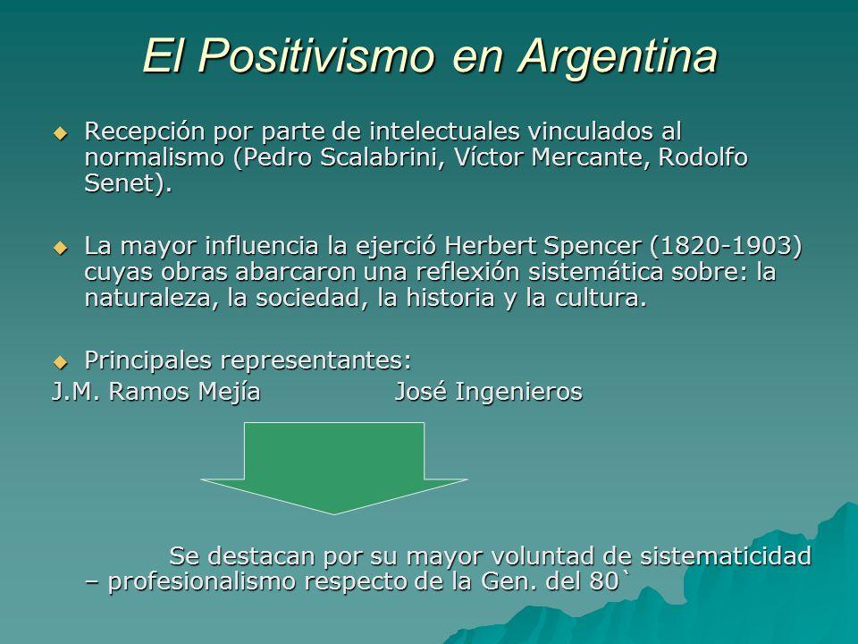 El Positivismo en Argentina Recepción por parte de intelectuales vinculados al normalismo (Pedro Scalabrini, Víctor Mercante, Rodolfo Senet). Recepció