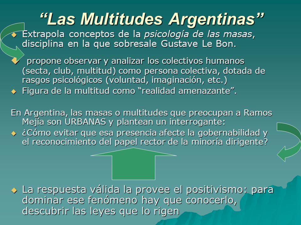 Las Multitudes Argentinas Extrapola conceptos de la psicología de las masas, disciplina en la que sobresale Gustave Le Bon. Extrapola conceptos de la