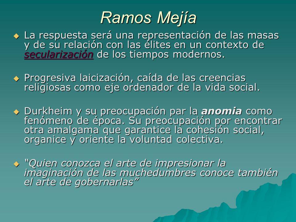 Ramos Mejía La respuesta será una representación de las masas y de su relación con las élites en un contexto de secularización de los tiempos modernos